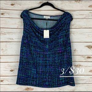 NWT Calvin Klein top sleeveless  1X cowl neck blue